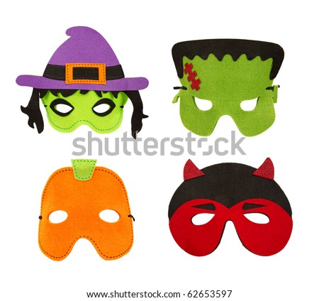A set of four Halloween felt face masks including a witch, Frankenstein, pumpkin and devil. Isolated on white. - stock photo