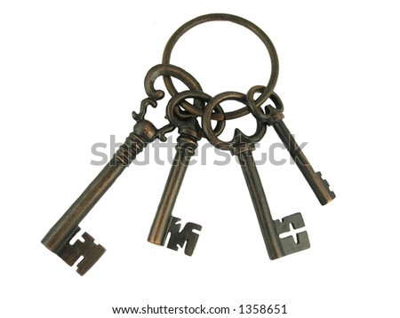 A set of four skeleton keys on a ring