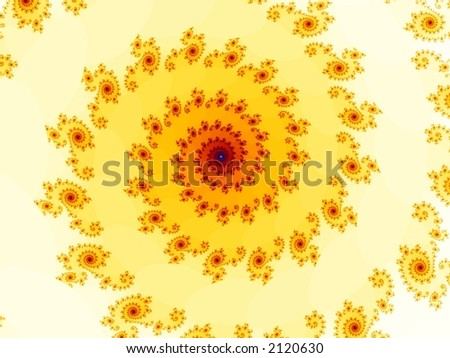 A set of fractal spirals in red and yellow