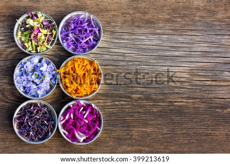 a set of fresh and colorful dried flower petals. aromatherapy, herbal tea, homeopathic medicine. Free space for text. Copy space - stock photo