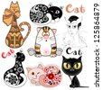 A set of funny cats in different design versions. The idea for the design children's rooms, greeting cards, invitations, photo frames. Raster copy of vector image - stock photo
