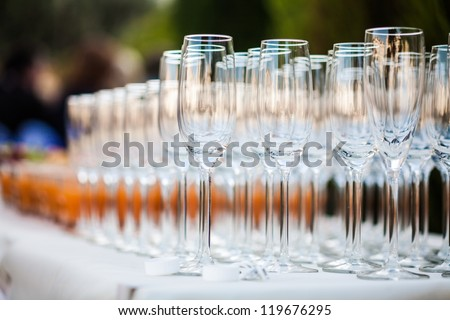 A set of glasses on the table - stock photo