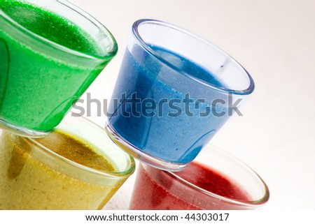 A set of glasses with colorful jelly Bavarese dessert