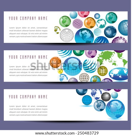 A set of globe banners - stock photo