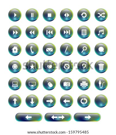 A set of 38 glossy blue and green web buttons. Raster. - stock photo