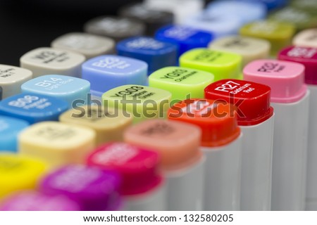 A set of Graphic Design colored Alcohol Markers - stock photo