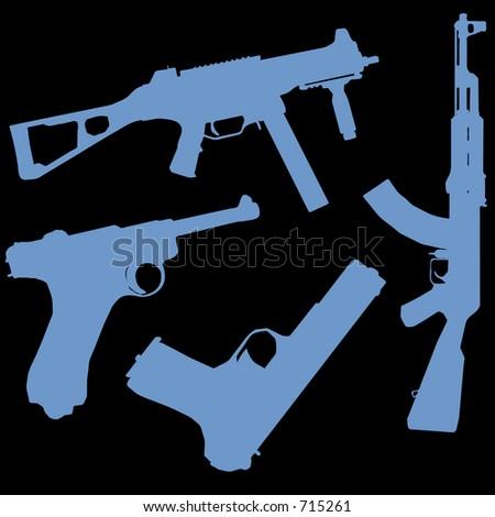 a set of gun illustrations - stock photo