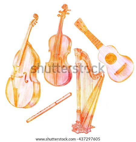 A set of hand drawn vintage musical instruments: a double bass, a violin, a fife, a harp, and a tiple guitar, golden toned, on white background - stock photo