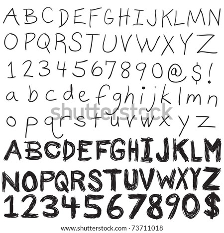 A set of hand written letters and numbers.  The complete alphabet doodled in both upper and lower case - stock photo