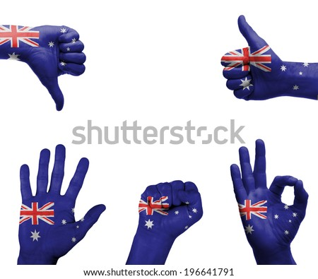 A set of hands with different gestures wrapped in the flag of Australia - stock photo