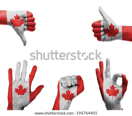 A set of hands with different gestures wrapped in the flag of Canada