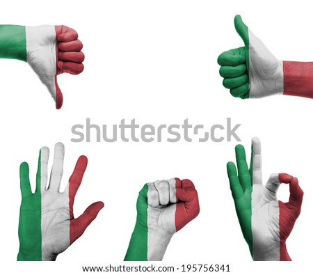 A set of hands with different gestures wrapped in the flag of Italy - stock photo