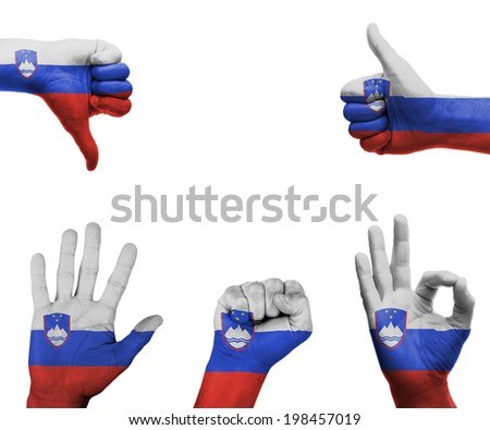 A set of hands with different gestures wrapped in the flag of Slovenia