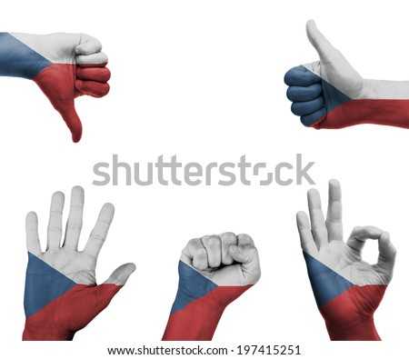 A set of hands with different gestures wrapped in the flag of the Czech Republic - stock photo