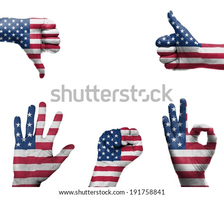 A set of hands with different gestures wrapped in the flag of the USA - stock photo