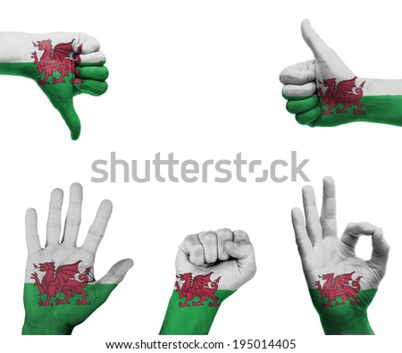 A set of hands with different gestures wrapped in the flag of Wales - stock photo