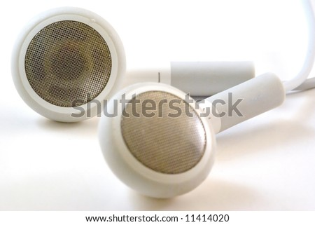 A set of headphone on a white background - stock photo