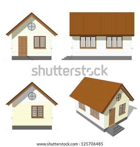 A set of house facade , on white background - stock photo