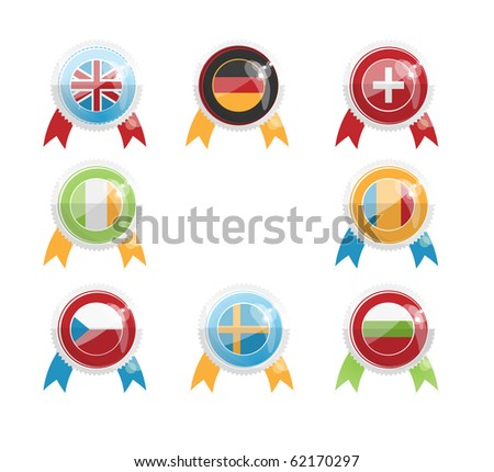 A set of icons in the form of flags on the day of the European languages - stock photo