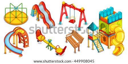 A set of illustrations of the playground. Equipment for playing. Playhouse. Slides, swings and roundabout. - stock photo