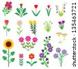 A set of images of different flowers - stock vector