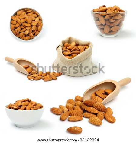 A set of images of dried almonds in a bowl and in bag - stock photo