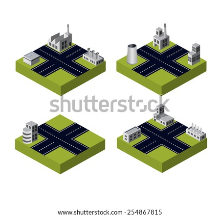 A set of industrial buildings on a white background - stock photo