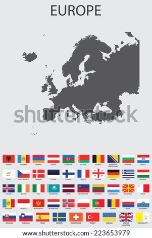 A Set of Infographic Elements for the Country of Europe