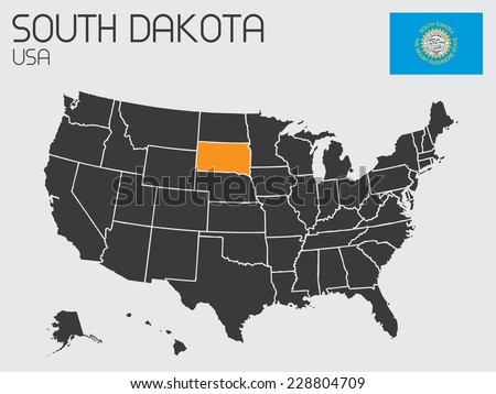 A Set of Infographic Elements for the State of South Dakota - stock photo