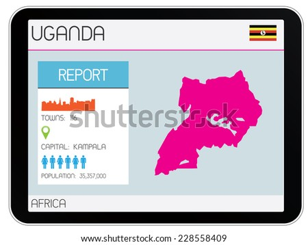A Set of Infographic Elements on a Tablet for the Country of Uganda - stock photo