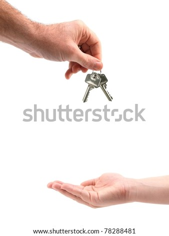 A set of keys isolated against a white background - stock photo