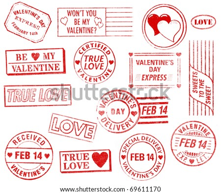 A set of 15 large, Valentine's Day-themed stamps isolated on white. Ideal for bitmap brushes, retro collages, etc. - stock photo