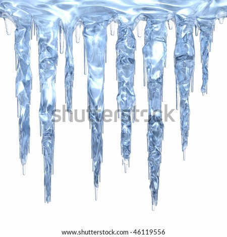 A set of light blue clean icicles dripping down. Isolated on white. - stock photo