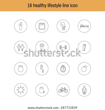 A set of liner icons isolated healthy lifestyle.