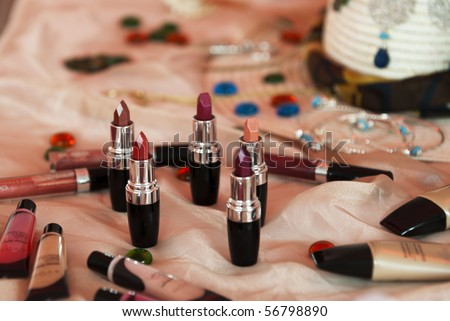 a set of lipsticks