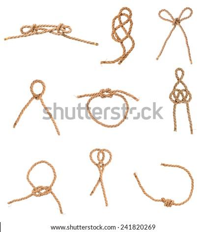 A set of loop knots jute - stock photo