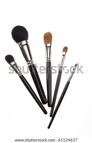 a set of 5 make-up brushes, shot on white background, set in a fan composition. the whole brushes are shown. - stock photo
