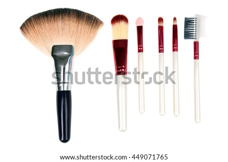 a set of makeup brushes for women makeup isolated on white background