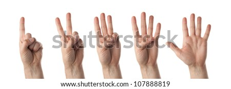 A set of Male hands counting isolated on white