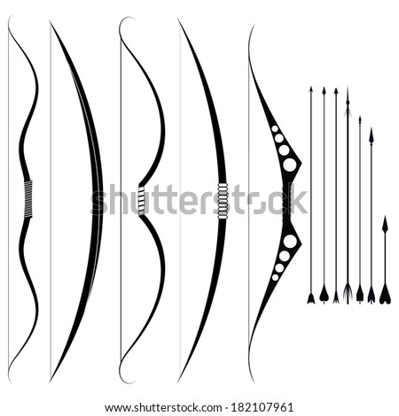 A set of military bows. Medieval weapons - stock photo