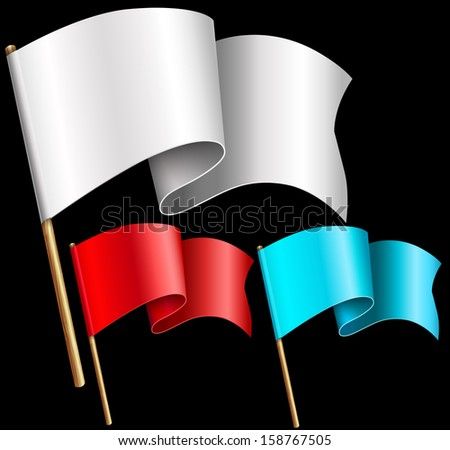 A set of multi-colored flags with wooden shaft. Raster copy  - stock photo