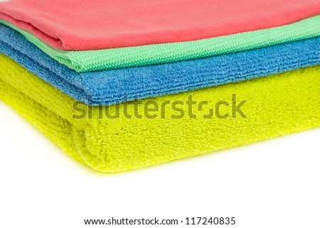 A set of multi colored wipes