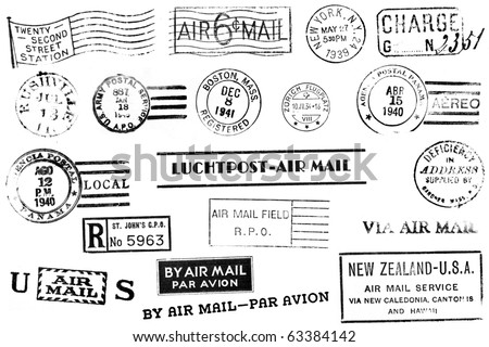 A set of nineteen large postal marks, mostly from the 1930s and 1940s, isolated on white. - stock photo
