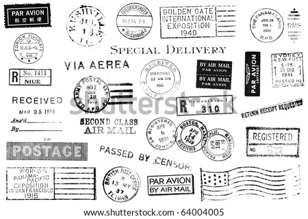 A set of nineteen large postal marks mostly from the 1930s and 1940s isolated on white. Ideal for bitmap brushes, retro collages, etc. - stock photo