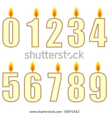 A set of numbered birthday candles - illustration - stock photo