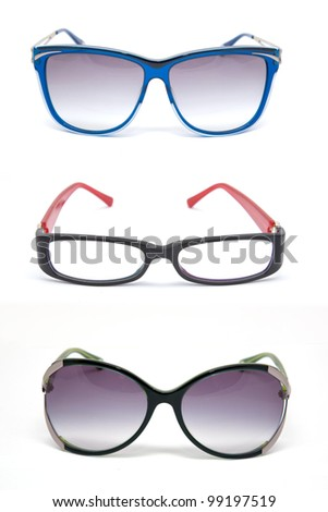 A set of of colorful reading glasses and sunglasses - stock photo