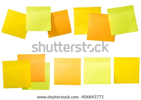 A set of office/work related color paper sticky notes. Isolated on white background include clipping path. - stock photo