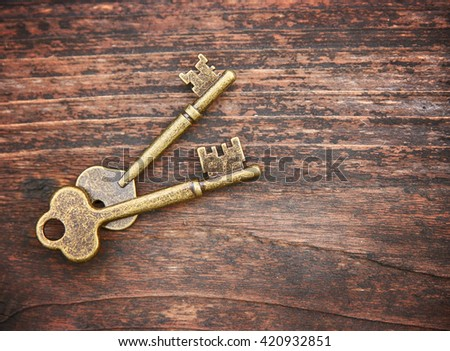 a set of old skeleton keys on a wooden background toned with a retro vintage filter instagram app or action effect  - stock photo
