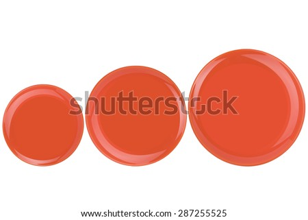 A set of orange plates on a white background - stock photo