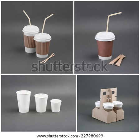 A set of paper coffee cup on a gray background - stock photo